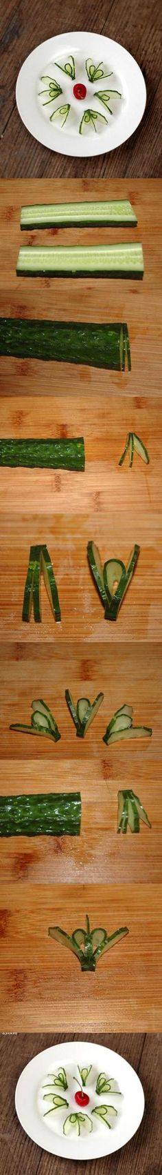 Food Art DIY - Cucumber Flower | iCreativeIdeas.com Like Us on Facebook == https://www.facebook.com/icreativeideas