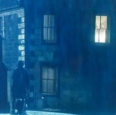 Jamie outside the B&B watching Claire