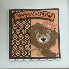 Made for a boys birthday Tonic Cards, Studio Cards, Leo Lion, Elizabeth Craft, Kids Cards, 3rd Birthday, Cardmaking, Dog Cat, Projects To Try