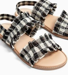 Image 2 of GINGHAM CHECK SANDALS from Zara