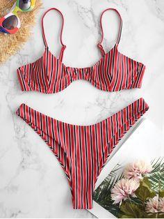 34c87ef445 ZAFUL Stripe Underwire Bikini - MULTI-A L High Cut Bikini, Bikini Set,