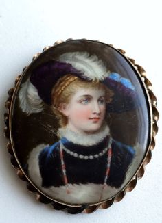 Victorian Brooch Hand Painted Porcelain