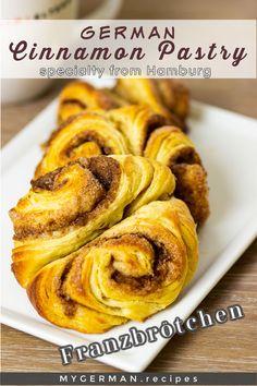 Cinnamon Pastry Recipe, Cinnamon Rolls, German Bakery, German Bread, Breakfast Specials, Dry Yeast, Holiday Baking, German Recipes, No Bake Cake