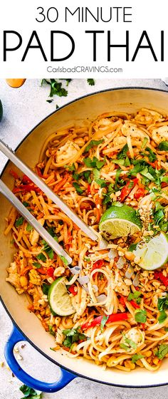 This Chicken Pad Thai Recipe rivals any restaurant but is made with pantry friendly ingredients, is less expensive and on your table in 30 minutes! Devour your favorite Chicken Pad Thai smothered in t