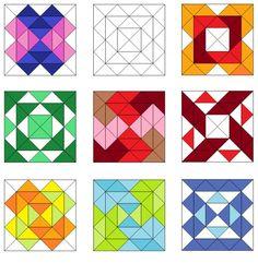 Square pattern quilt blocks