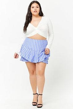 929988dc7ccbe Product Name Plus Size Striped Tiered Skort