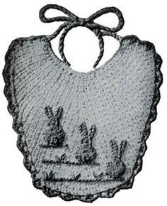 NEW! Bunny Baby Bib crochet pattern from Quick Crochet with Enterprise Yarn, Book No. 9305.