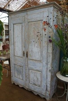 Old rustic looking french cabinet... a couple of these would look great in my new craft room - and would be incredibly functional besides..