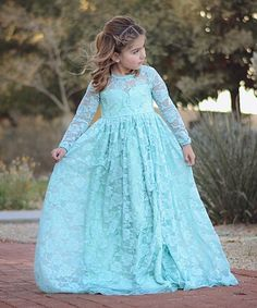 Another great find on #zulily! Mint Floral Lace Overlay A-Line Dress - Toddler & Girls #zulilyfinds