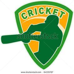 "vector illustration of a cricket sports player batsman silhouette batting set inside square with words ""cricket"" - stock vector #cricket #retro #illustration"