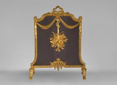 Antique Louis XVI style gilt bronze firescreen with music attributes (Reference - Available at Gallery Marc Maison Pan Flute, Charred Wood, Architectural Antiques, Louis Xvi, French Antiques, A Table, Clock, Bronze, Fire