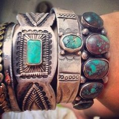stacking and layering turquoise and silver bracelets a showstopper perfect fashion accessory for festival or festive season! Ethnic Jewelry, Indian Jewelry, Boho Jewelry, Jewelery, Silver Jewelry, Vintage Jewelry, Jewelry Accessories, Silver Bracelets, Cuff Bracelets