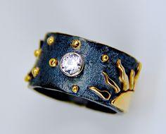18k gold diamond sun moon stars ring