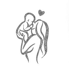 Mother Tattoos, Baby Tattoos, Mother Art, Mother And Child, Art Sketches, Art Drawings, Birth Art, Pregnancy Art, Mommy And Son