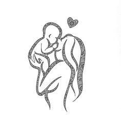 Parent Tattoos, Baby Tattoos, Mother Art, Mother And Baby, Pencil Art Drawings, Drawing Sketches, Dark Drawings, Mandala Design, Mandala Art