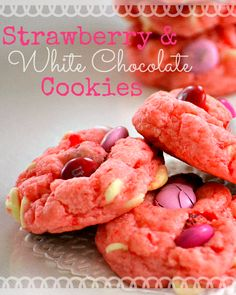 Strawberry and White Chocolate Cake Mix Cookies from MomOnTimeout.com