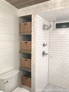 Learn how to build these easy and inexpensive bathroom shelves! These are perfect for that awkward space between your shower and wall.