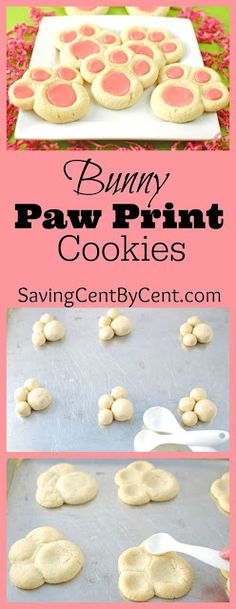 Bunny Paw Print Cookies - Saving Cent by. - Bunny Paw Prints Cookies for Easter You are in the right place about Easter Recipes Ideas simple He - Easter Dinner, Easter Brunch, Easter Party, Easter Food, Easter Baking Ideas, Cute Easter Treats For Kids, Easter Basket Ideas, Easter Snacks, Easter Crafts