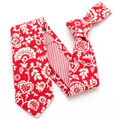 Lancaster Garden & Stripe Necktie - vintage ties handmade in the United States