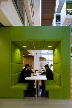 Interesting pod for both break room or impromptu meeting area space. Offers a little privacy while also adding an interesting design element to an open space.