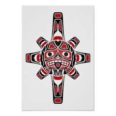 Red And Black Haida Sun Mask On White Poster - Custom Posters Haida Kunst, Arte Haida, Haida Art, Haida Tattoo, 1 Tattoo, Inca Tattoo, Native Art, Native American Art, American History