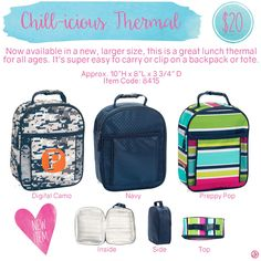 Chill-icious Thermal by Thirty-One. Spring/Summer 2016. Click to order. Join my VIP Facebook Page at https://www.facebook.com/groups/1603655576518592/  #thirtyone #thirtyonegifts