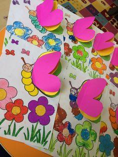 Okul öncesi kelebek sanat etkinliği Pre School, Preschool Activities, Origami, Paper Crafts, How To Plan, Painting, Collage, The Creation, Manualidades