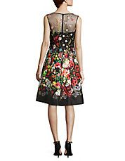Embroidered Floral-Print Dress