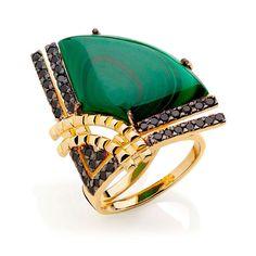 anel malaquita dourado www.waufen.com.br #semijoias #joias #semijoia #joia #brincos #pulseiras #aneis #colares #moda #tendencias #fashion #luxo