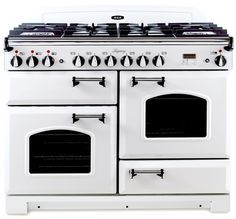 """Aga Legacy 44"""" vinatage white, cathedral doors. 8 burners, multi-function oven, convection oven, broiler, storage drawer."""