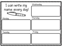 This printable provides a box for each day of the week for name writing practice! Perfect for day starters for PreK!