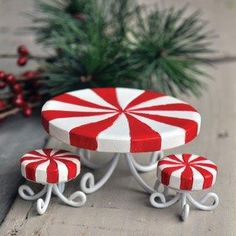 christmas candies in miniature | Miniature Candy Cane Table & Stools (Set 3)-Fairy Garden Miniature ...