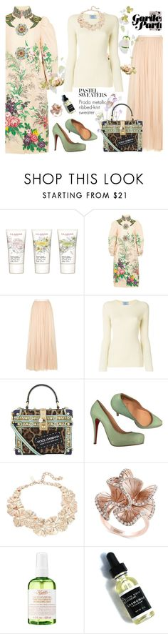 """""""Spring Preview: Pastel Sweaters"""" by esch103 ❤ liked on Polyvore featuring Clarins, Gucci, Needle & Thread, Prada, Dolce&Gabbana, Christian Louboutin, Oscar de la Renta, Effy Jewelry, Kiehl's and Herbivore"""