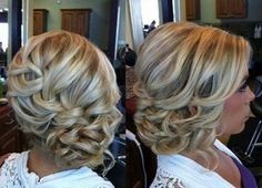 Coral I think we could do this with pin curls instead of loose curls on the side!! very pretty Medium Hair Updo, Bridesmaid Hairstyles Updo, Bride Hair With Braid, Bridal Hair With Braid, Bridesmaids Hairstyles Side, Beach Wedding Updo, Loose Curly Updo, Long Hair Side Updo, Formal Side Bun