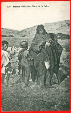 North Africa – country undetermined. Beduin woman spinning with top-whorl-spindle.