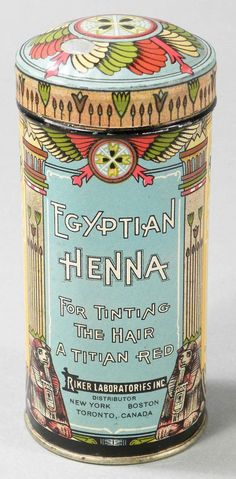 Egyptian Henna Tin. For tinting the hair a Titian Red.