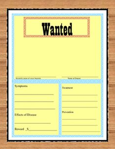 Viruses and Bacteria Wanted Poster Igcse Biology, Biology Classroom, Biology Lessons, Love Teacher, Health Lessons, Fifth Grade, Research Projects, Educational Activities, Teacher Newsletter