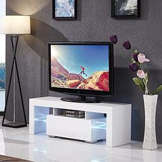 Amazing offer on Mecor Modern White TV Stand, 51 Inch High Gloss LED TV Stand Console Table Living Room online - Topfurniturestore Tv Stand Lights, Led Tv Stand, Tv Stand Console, Led Lights For Sale, White Led Lights, Console Table Living Room, Living Room Tv, Tv Stand Measurements, White Tv Stands