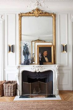 27 Parisian Fireplaces & Mantel Decor Ideas Fireplaces are a well-known characteristic of traditiona French Interior Design, Interior Design Minimalist, Home Interior, Modern Design, Paris Apartment Decor, Design Apartment, Parisian Decor, French Style Homes, Design Living Room