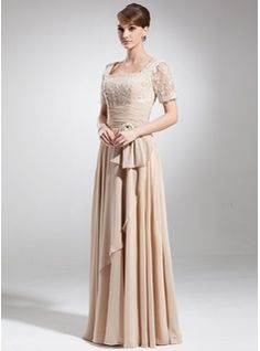 A-Line/Princess Square Neckline Floor-Length Chiffon Mother of the Bride Dress With Ruffle Lace Beading Bow(s) (008006154) - JJsHouse