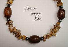 Unisex jasper bracelet kit, black hematite bracelet kit men, boyfriend bracelt kit DIY, Diy bracelet, Chunky DIY bracelet, Beginner bracelet by LovelyDawn on Etsy Diy Jewelry Making Kits, Jewelry Kits, Custom Jewelry, Unique Jewelry, Hematite Bracelet, Diy Bracelet, Beaded Bracelets, Diy Kits, Jasper