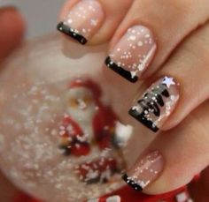 Cute Christmassy pink and black nails