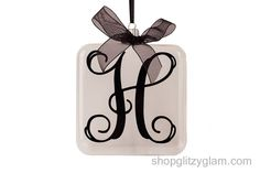 Beautiful vine monogram initial on an acrylic, shatterproof, square ornament, approximately 3.5 in x 1 in, 8.9 cm x 2.5.  Please select your initial and color from the drop down menu below.  $9.50