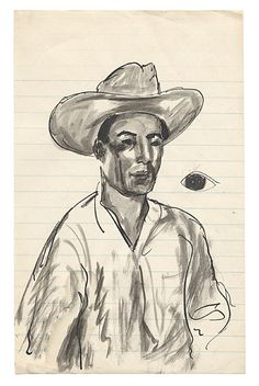 Citation: Man in hat, ca. 1940. Antonio Sotomayor papers, Archives of American Art, Smithsonian Institution.