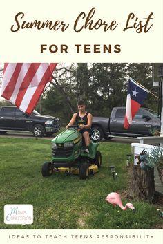 boy riding on a lawnmower