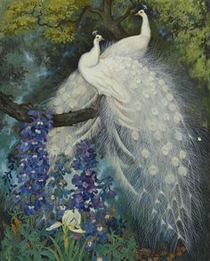 Jessie Arms Botke (American painter) 1883 - 1971 White Peacocks and Blue Delphinium, 1924 oil on masonite x cm.) signed Jessie Arms Botke (lower right) private collection © photo Sotheby's Peacock Wall Art, Peacock Painting, Blue Delphinium, White Peacock, Bird Artwork, Feather Art, Beautiful Birds, American Art, Art Pictures