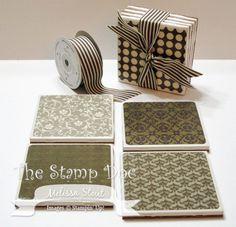Tile Coasters - use corner rounder on the DSP, modpodge onto tiles, seal w/acrylic spray sealer, Felt or cork backing - tie set w/ribbon