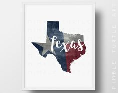 Texas State Outline Watercolor with Texas State Flag Background  -  Printable Download