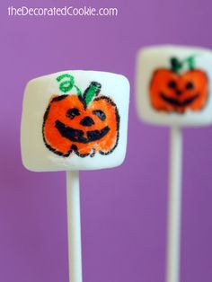 how to draw HALLOWEEN week! Day One: Jack O' Lantern marshmallow pops