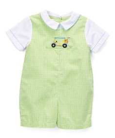 Love this Lime Check Golf Cart Embroidery Layered Romper - Infant on #zulily! #zulilyfinds